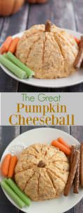 Collage image of cheddar cheese cheeseball in shape of a pumpkin on a white plate with celery, carrots and pretzels.