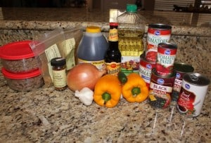 All the ingredients gathered (pre-browned beef & good Texas beer from Shiner Bock)