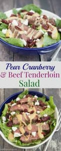 Collage image of sliced beef tenderloin and pears on lettuce in a blue bowl.