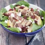 This Delicious Beef Tenderloin Pear and Cranberry Salad with Honey Mustard Dressing is simple to prepare and a great, healthy meal idea.