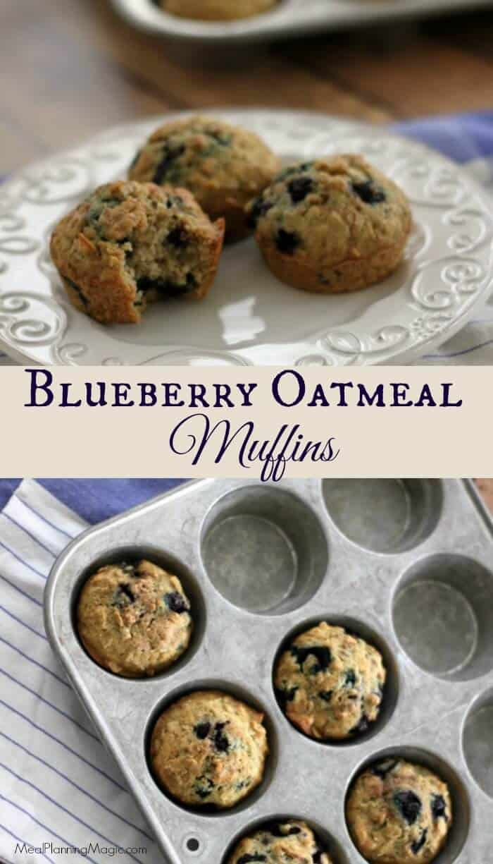 These tasty blueberry oatmeal muffins are a delicious, healthy breakfast or snack option for any time! | Recipe at MealPlanningMagic.com