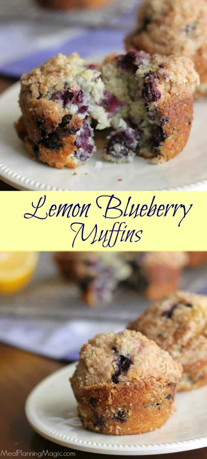 Fresh Meyer lemons and blueberries come together for this easy muffin that is bursting with flavor! Find the recipe at MealPlanningMagic.com
