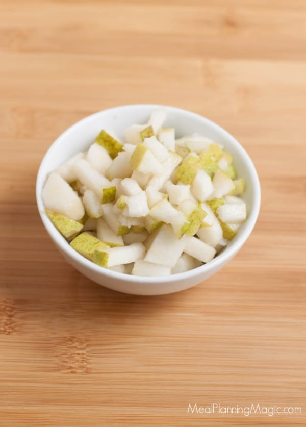 image of freshly diced pears