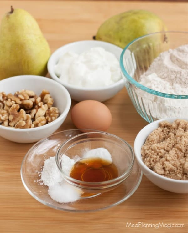 image of pear walnut muffin recipe ingredients