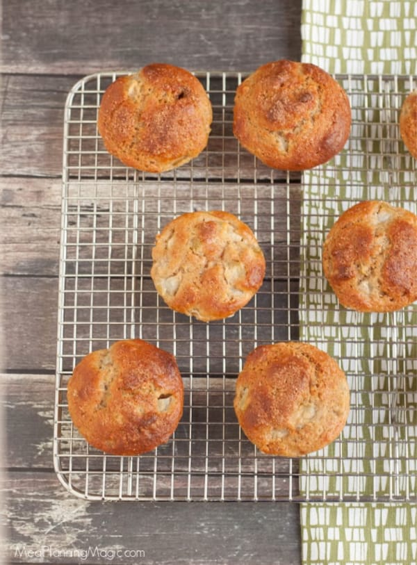 image of pear walnut muffins on baking rack