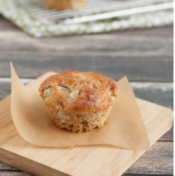 Image of Pear Walnut Muffin on wooden plank with cooling rack.