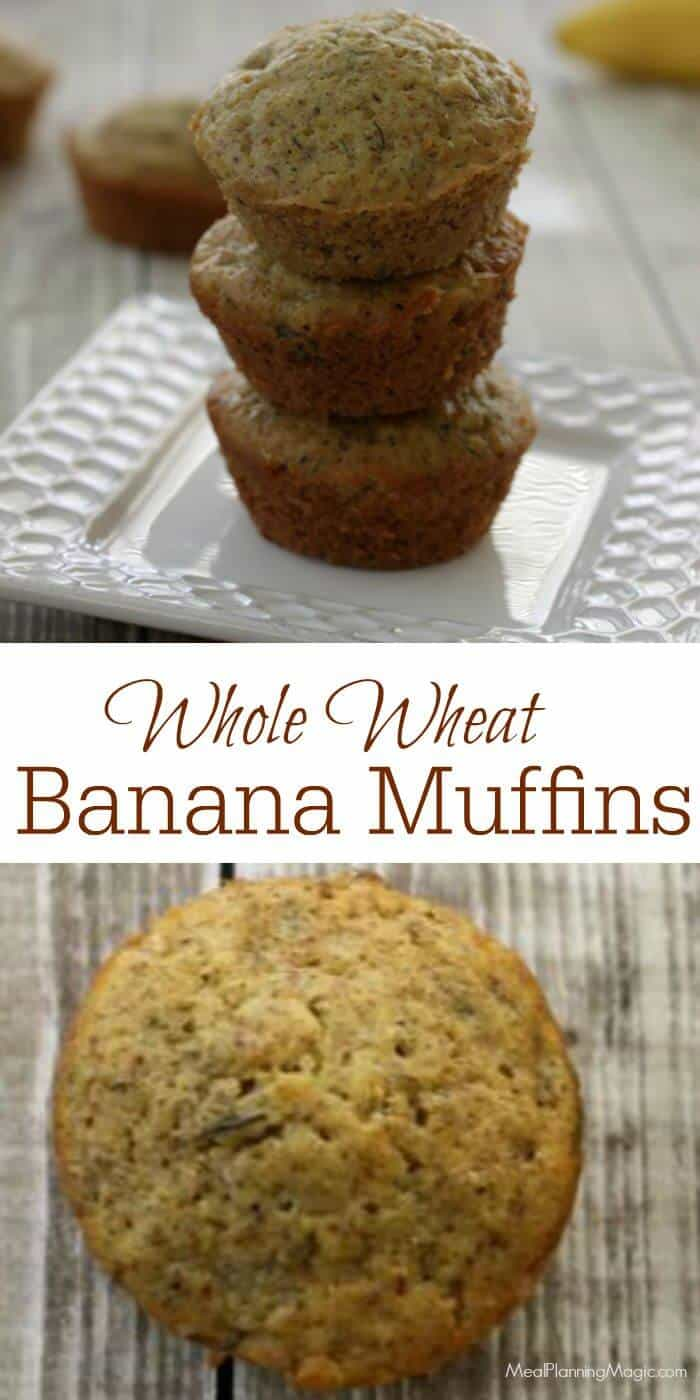 These Easy Whole Wheat Banana Muffins are a family favorite and really are SO easy! They're super delicious too! | Recipe at MealPlanningMagic.com