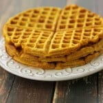Pumpkin waffles --just a few simple ingredients and no sugar added! | Recipe at MealPlanningMagic.com