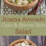 This Jicama Avocado Crab and Brown Rice salad has an Asian flare to it and is perfect for a light lunch or as a side dish. Find the recipe at MealPlanningMagic.com