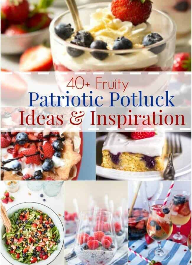 With over 40 recipes to choose from, this round up of Patriotic Potluck Ideas and Inspiration is sure to have something for everyone featuring festive red, white and blue fruits!