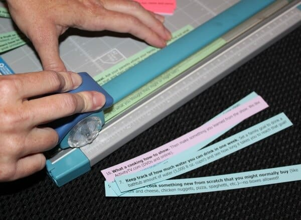 Using a paper cutter makes cutting up the list and labels quick and easy.