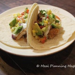Fish Tacos with Avocado, Corn and Tomato Salsa