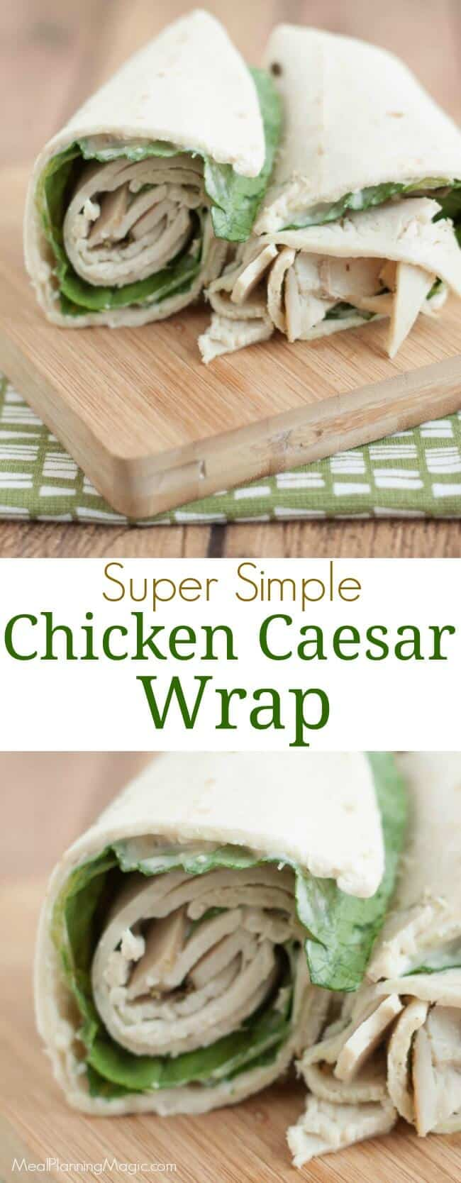 This Chicken Caesar salad wrap is a delicious sandwich wrap combining chicken lunch meat with a fresh Caesar salad! Perfect make ahead meal for lunch boxes!