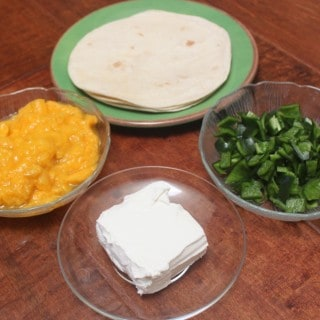 Just four simple ingredients to a delicious quesadilla!
