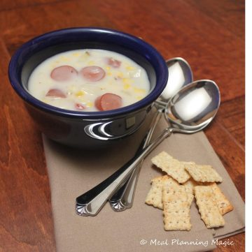 Homemade corn chowder with hot dogs