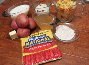 ingredients to make corn chowder with hot dogs