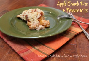 Apple Streusel Crumb Pie recipe, plus instructions to make apple pie freezer kits!