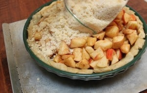 making an apple streusel crumb pie from a freezer kit