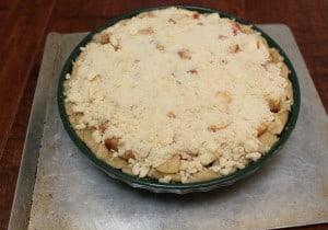 Apple streusel crumb pie, before baking