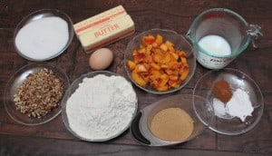Ingredients needed to make peach pecan muffins