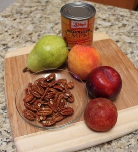 pears, peaches, plums, pumpkin, and pecans