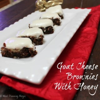 Goat cheese brownies with honey are rich, dense, indulgent brownies. They make a perfect holiday food gift or dessert for a special occasion.