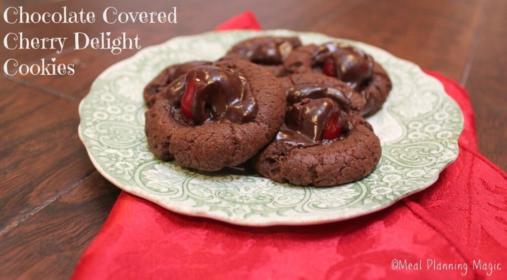 Chocolate covered cherry delight cookies are soft chocolate cookies with a sweet cherry filling. Reminiscent of cordial cherry candies, but without the gooey mess!