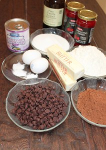 Ingredients needed to make chocolate covered cherry delight cookies