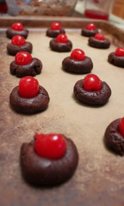 Chocolate covered cherry delight cookies, before dipping with chocolate