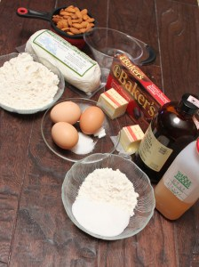 Ingredients to make Honey Goat Cheese Brownies