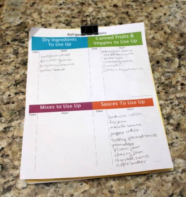 Pantry Organization Inventory Sheet - 6 Tips To an Organized Pantry - MealPlanningMagic.com