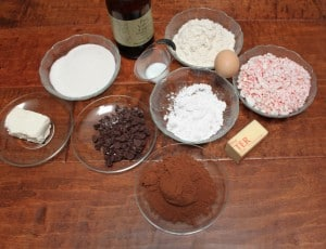 Ingredients to make peppermint fudge cups