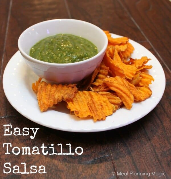 Easy Tomatillo Salsa recipe | Eat A to Z Healthy Recipe Challenge | MealPlanningMagic.com