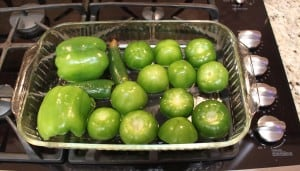 whole tomatillos and green bell peppers