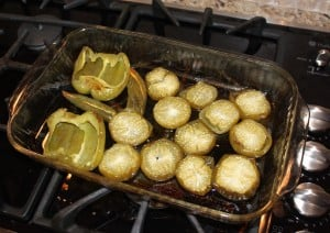roasted tomatillos and bell peppers