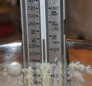 candy thermometer shows softball stage