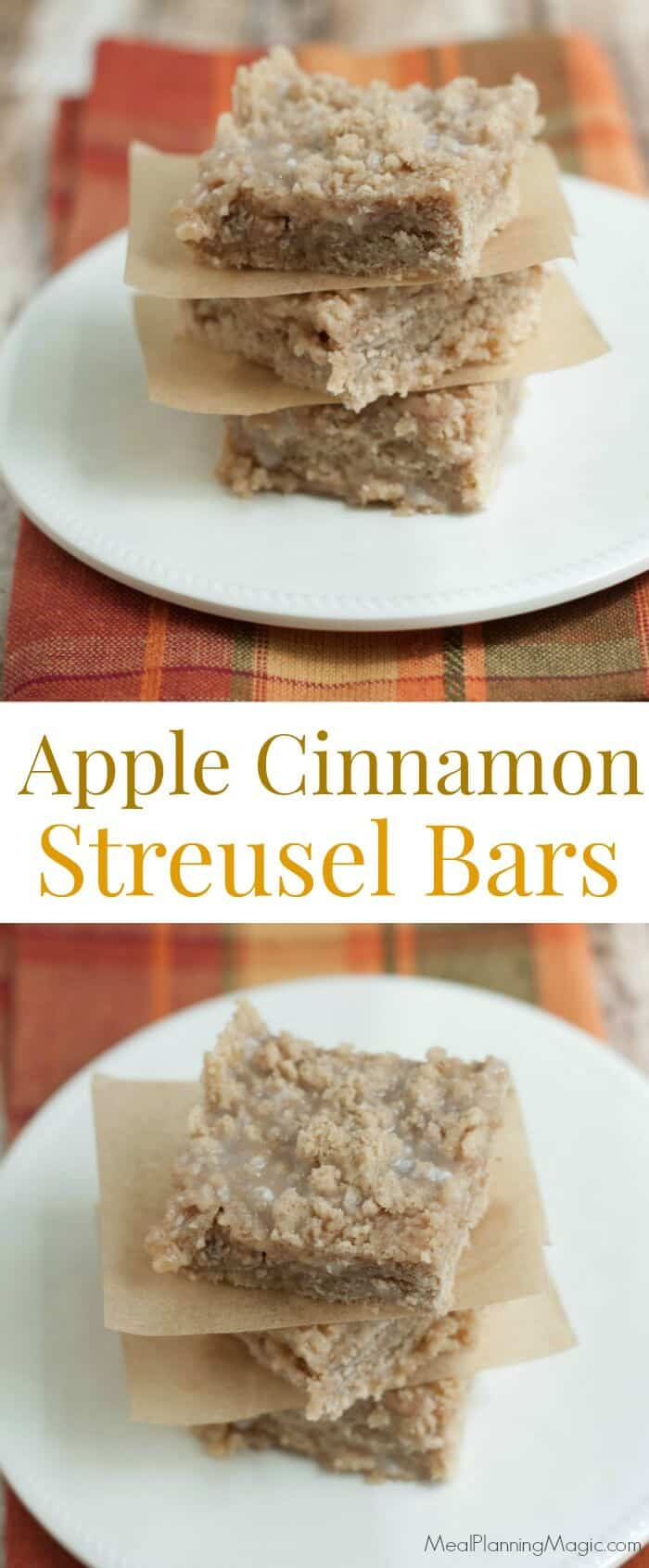 These Apple Cinnamon Streusel Bars are perfect for fall--or any time of year when you want a slightly sweet, cinnamony treat! They come together easily too. Find the recipe at MealPlanningMagic.com