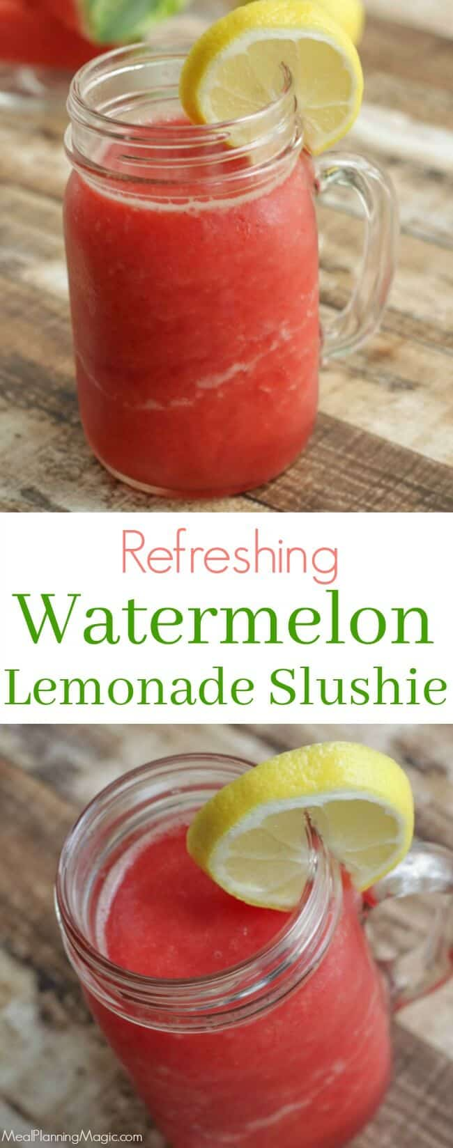 Refreshing and simple this Watermelon Lemonade Slushie is a great way to use up leftover watermelon. Best of all, it's make ahead so enjoy anytime! Get the recipe at MealPlanningMagic .com