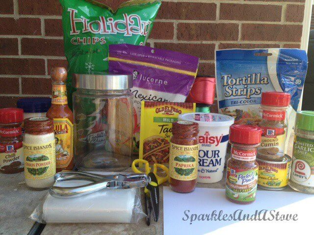 Ingredients needed to make a DIY taco dip mason jar food gift