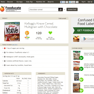 Showdown on the Cereal Aisle Featuring the Fooducate App