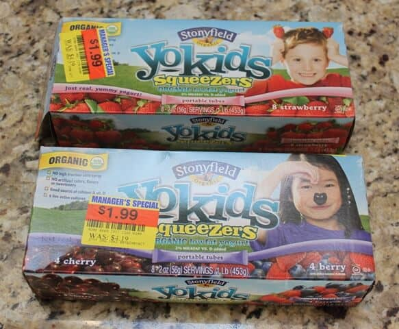 Save $$ on Clearance Items at the grocery store like these organic yogurt tubes! They are great in the freezer for lunches! | Meal Planning Magic