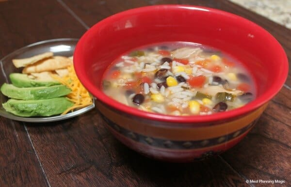 Easy Chicken Rice & Black Bean Tortilla Soup | MealPlanningMagic.com