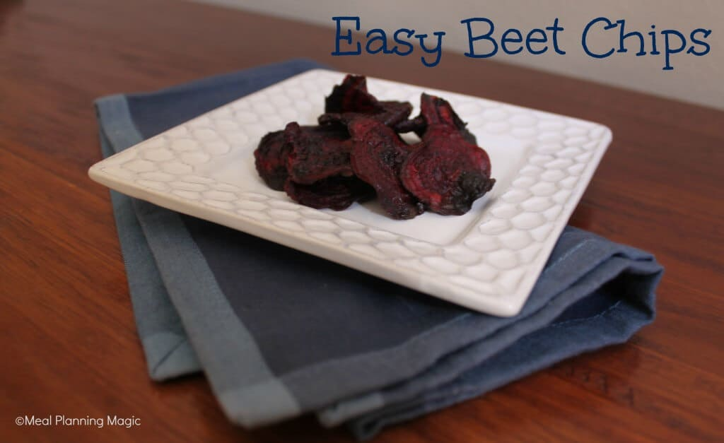 Beet chips are a delicious healthy snack or side dish replacement for fried potato chips. There are just 3 ingredients needed to make this easy beet chips recipe! | #EatA2ZRecipeChallenge | Meal Planning Magic