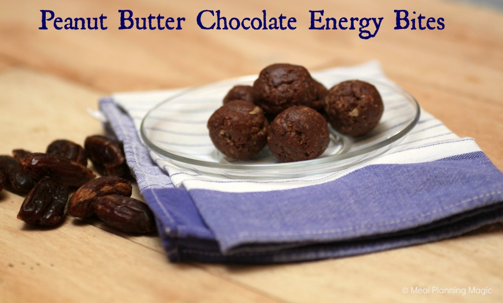 No bake energy bites, naturally sweetened with dates, peanut butter, and chocolate. | #EatA2ZRecipeChallenge #vegan | Meal Planning Magic