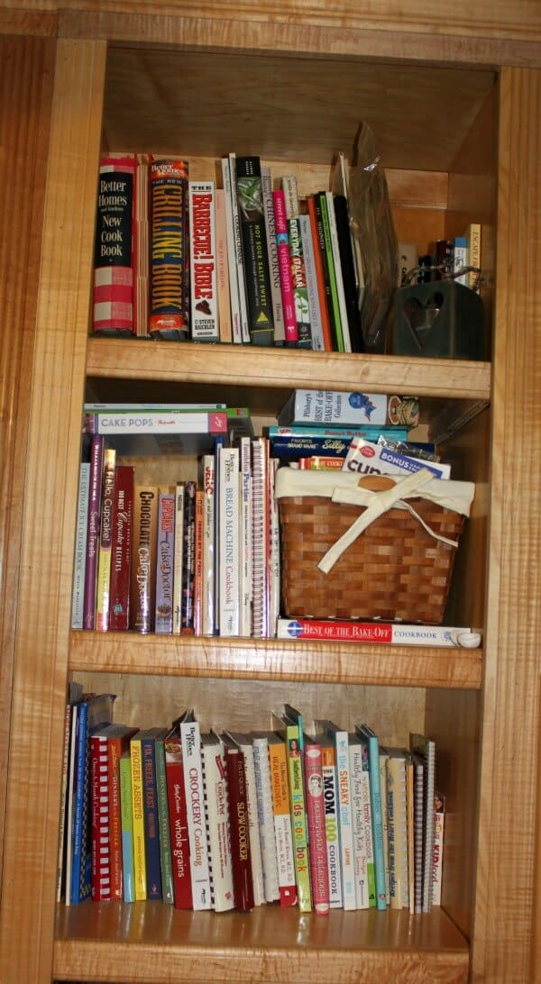 And then there is the bookshelf  with cookbooks. Too many--and this is only about 2/3 of them!