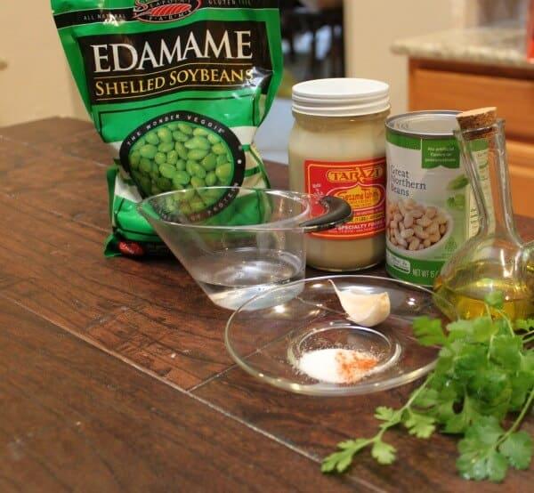 Simple ingredients to make edamame white bean dip