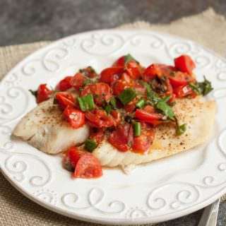 Super Simple Tomato Basil Topped Baked Fish