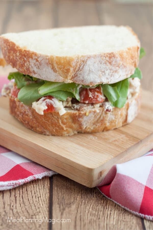 BLT chicken salad sandwiches are a delicious combination of a classic chicken salad sandwich and a bacon, lettuce, and tomato sandwich. This easy sandwich recipe is perfect for lunchboxes!