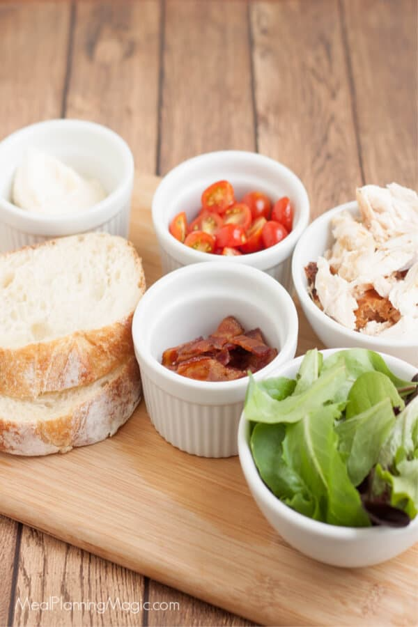 image of ingredients for BLT chicken salad sandwich