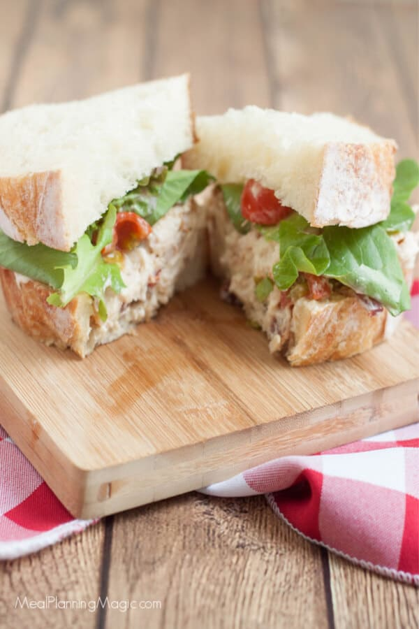 image of sliced BLT chicken salad sandwich